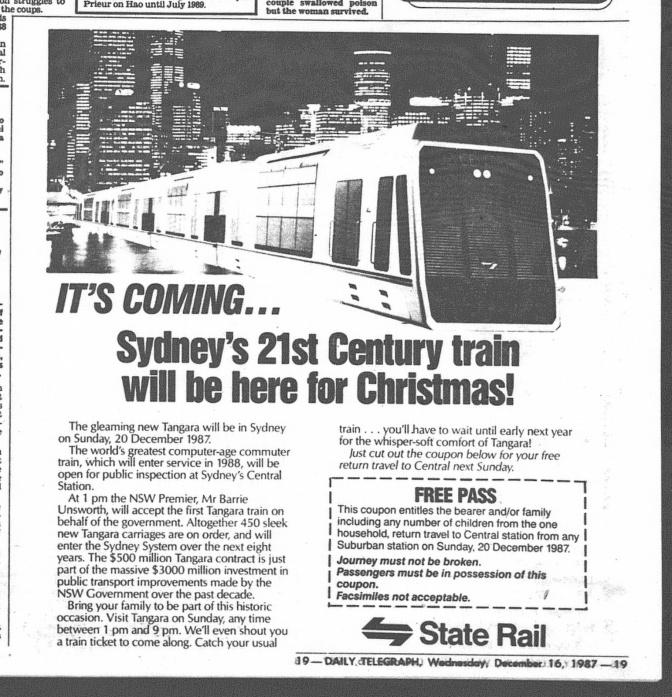 Tangara Ad December 16 1987 daily telegraph